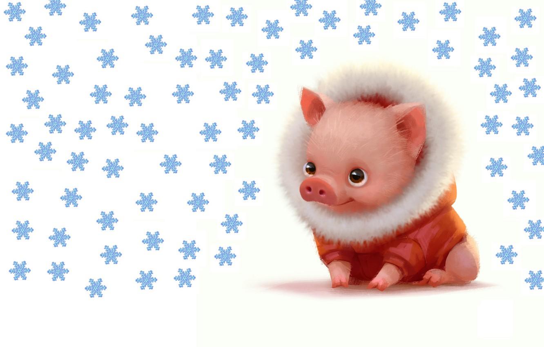 Фото обои зима, малыш, арт, Новый год, хрюшка, поросёнок, Lynn Chen, Lil piggy dude