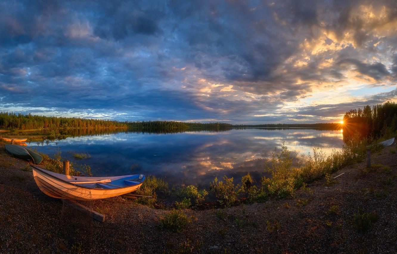 Фото обои sunset, boat, Kuusamo, Käylä sunset
