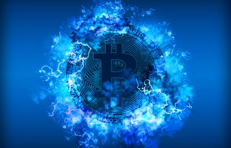 Фото обои синий, молния, blue, fon, coin, bitcoin, биткоин, btc