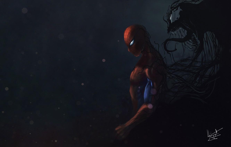 Фото обои Art, Comics, MARVEL, Venom, Characters, Fan art, Creatures, Comic Art, Comics Art, Sider-man and Venom …