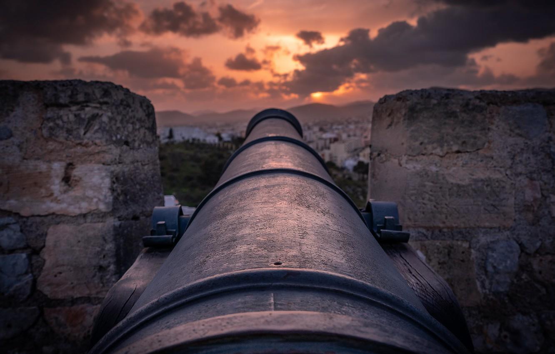 Фото обои закат, пушка, крепость