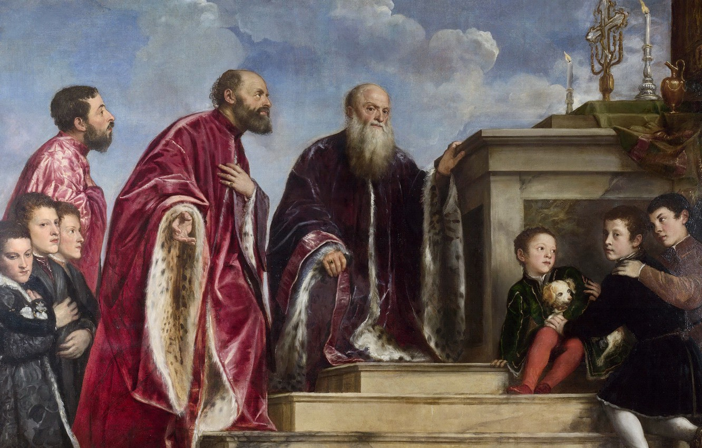Фото обои 1550-1560, Тициан с подмастерьями, Семейство Вендрамин поклоняется истинному Кресту