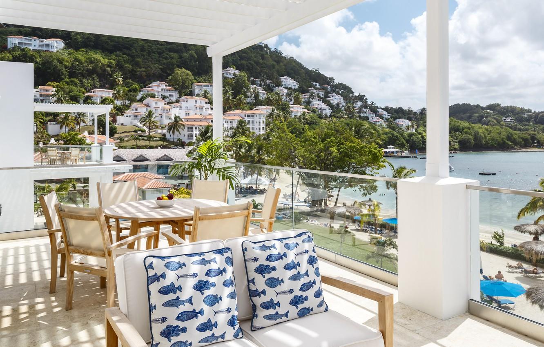 Фото обои море, пляж, океан, вилла, sea, villa, карибы, caribbean, saint lucia, windjammer landing, st-lucia, сент-люсия