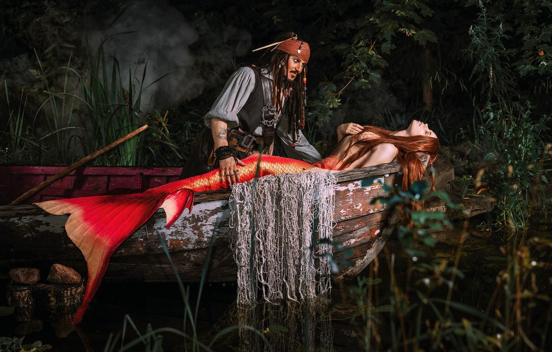 Фото обои девушка, лодка, русалка, фэнтези, мужчина, Джек Воробей, Александра Савенкова