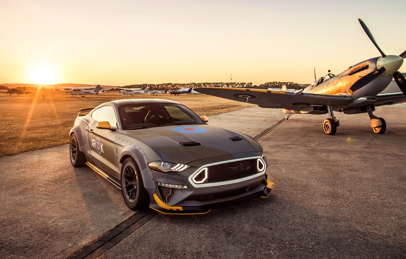 Фото обои закат, Ford, RTR, 2018, Mustang GT, Eagle Squadron