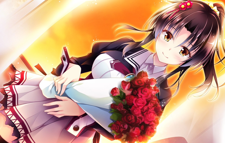 Фото обои улыбка, школьница, челка, visual novel, алые розы, букет из роз, by Masato Satofuji, Golden Marriage, …