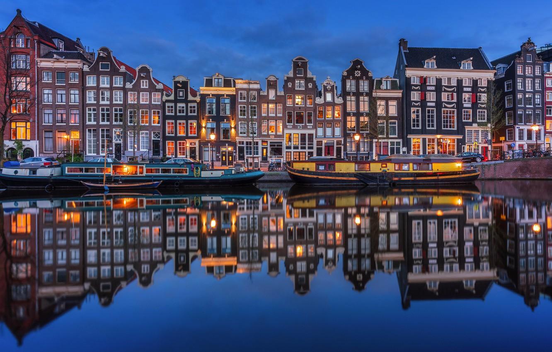 Фото обои ночь, огни, река, дома, Амстердам, Нидерланды