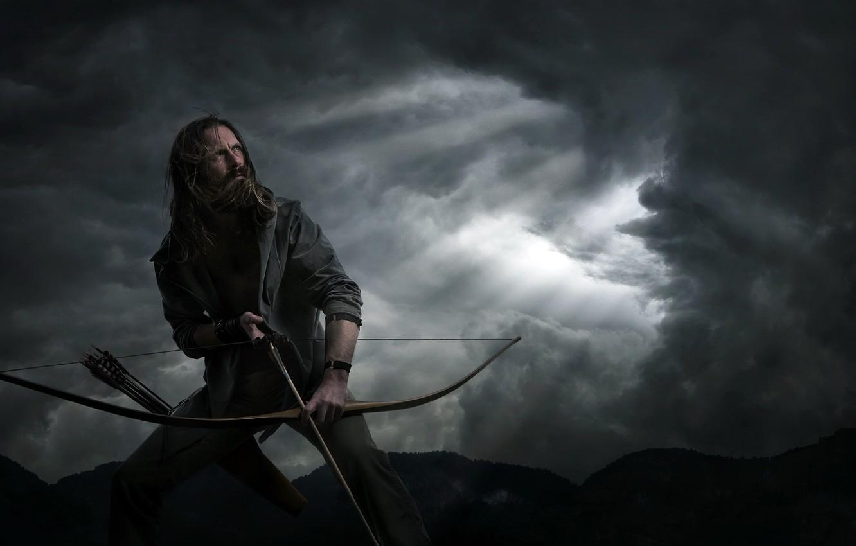 Фото обои человек, лук, стрелок