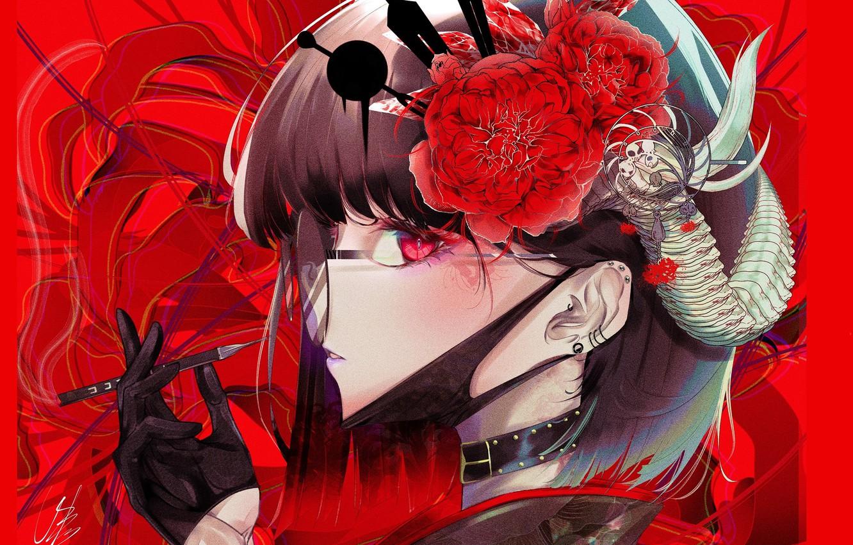 Фото обои красные глаза, демонесса, красный фон, в очках, физиономия, demon girl, чокер, медицинская маска, рога на …