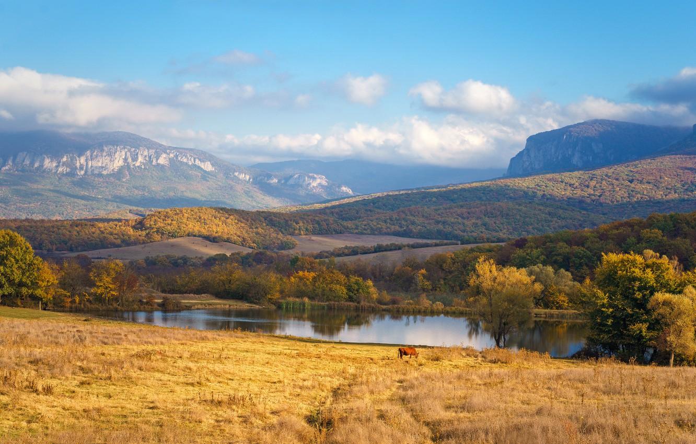 Фото обои небо, горы, река, поля