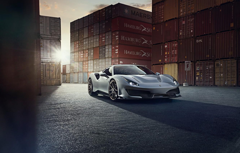 Фото обои солнце, Ferrari, спорткар, Novitec, 488, Pista