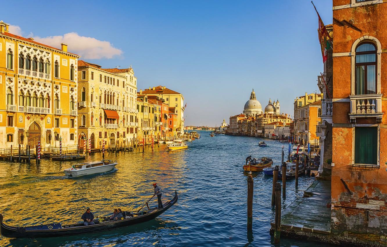Обои дома, grand canal, водный канал, катера, венеция. Города foto 12