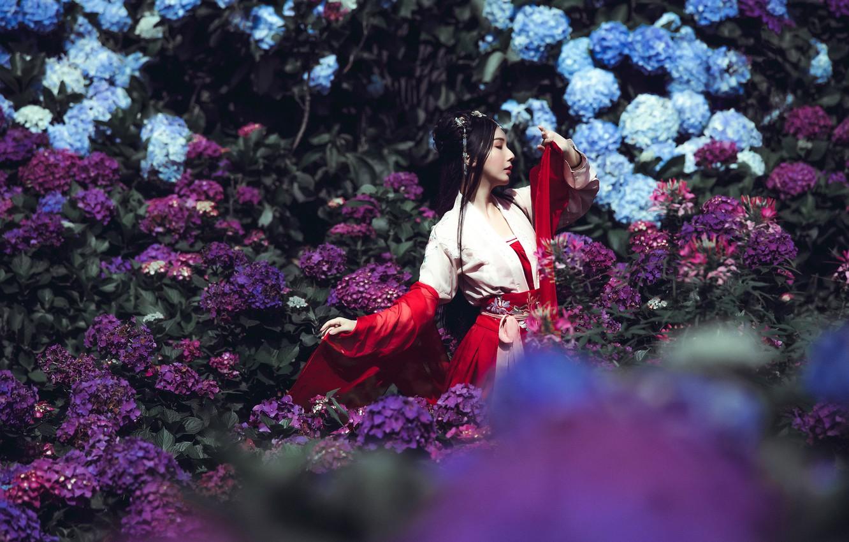 Фото обои девушка, цветы, поза, красное, руки, сад, платье, брюнетка, голубые, прическа, красавица, фиолетовые, профиль, прогулка, кимоно, ...