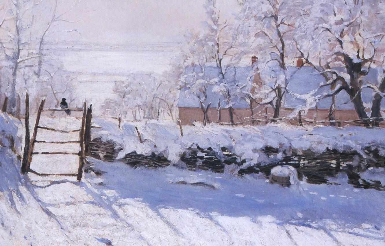 Фото обои зима, пейзаж, картина, сорока, клод моне