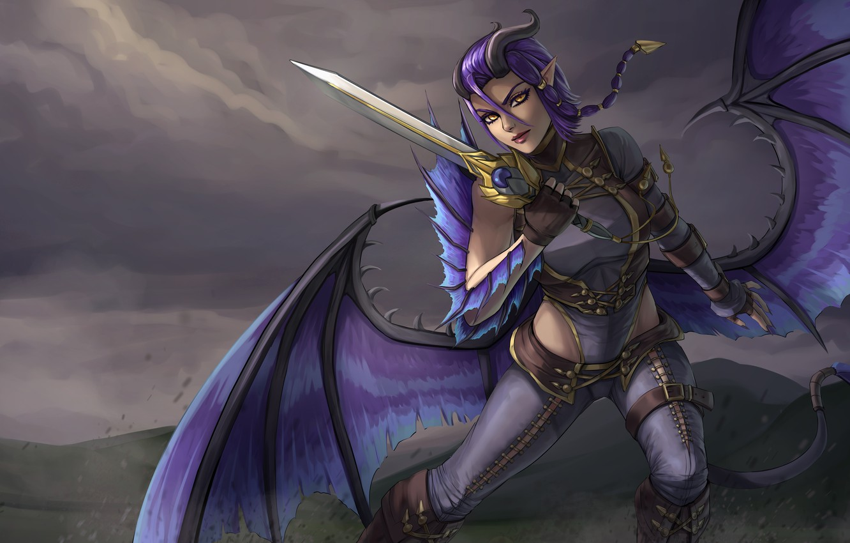 Фото обои взгляд, девушка, крылья, меч, демон, хвост, рога, уши