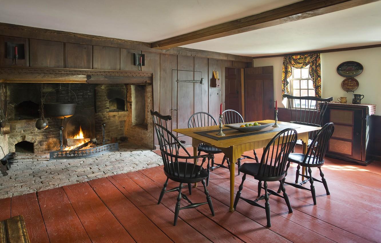 Фото обои комната, интерьер, печь, столовая