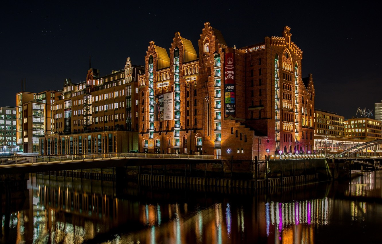 Обои ночной город, германия, каналы, гамбург, speicherstadt, здания, Hamburg, шпайхерштадт, мосты, Germany. Города foto 19
