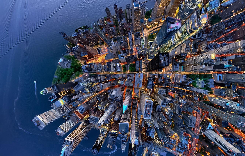 Фото обои город, США, вид сверху, Нью - Йорк