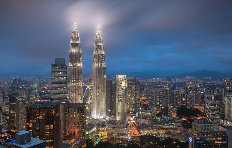 Фото обои город, туман, Малайзия, Куала-Лумпур