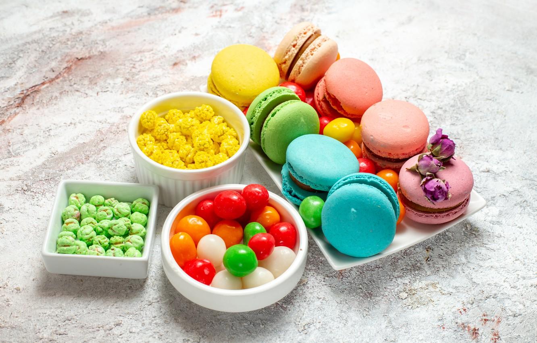 Фото обои конфеты, сладости, драже, макарон