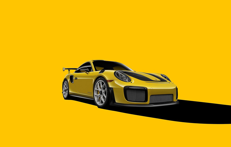 Фото обои Porsche, GT2, Yellow, VAG, Backgraund