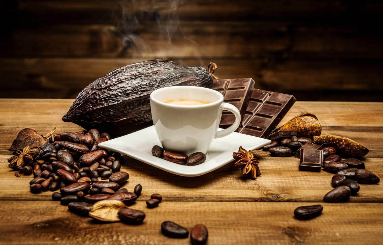 Обои coffee beans, coffee, wood, кофе, чашки, кофейные зёрна. Еда foto 16