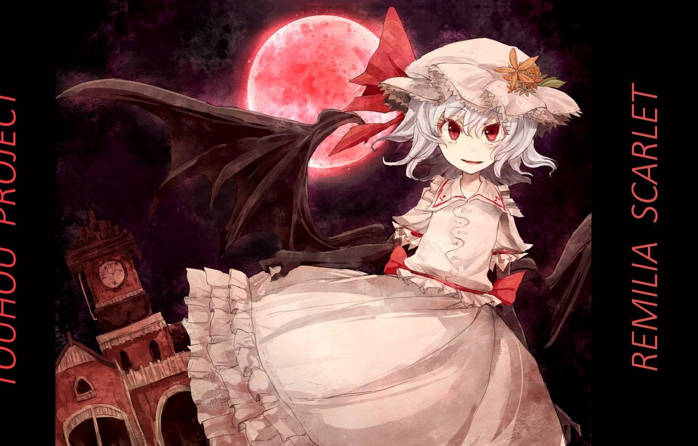 Фото обои полнолуние, красные глаза, вампирша, Remilia Scarlet, кровавая Луна, проект Восток, крылья летучей мыши, touhou project