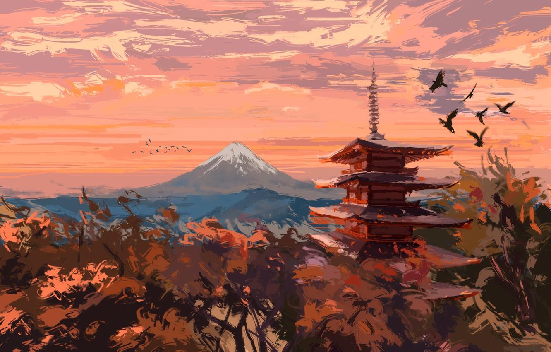 Фото обои осень, деревья, птицы, пагода, Фудзияма
