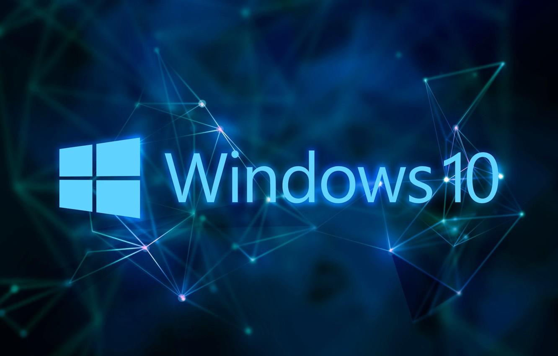 Фото обои windows, синий фон, Windows 10