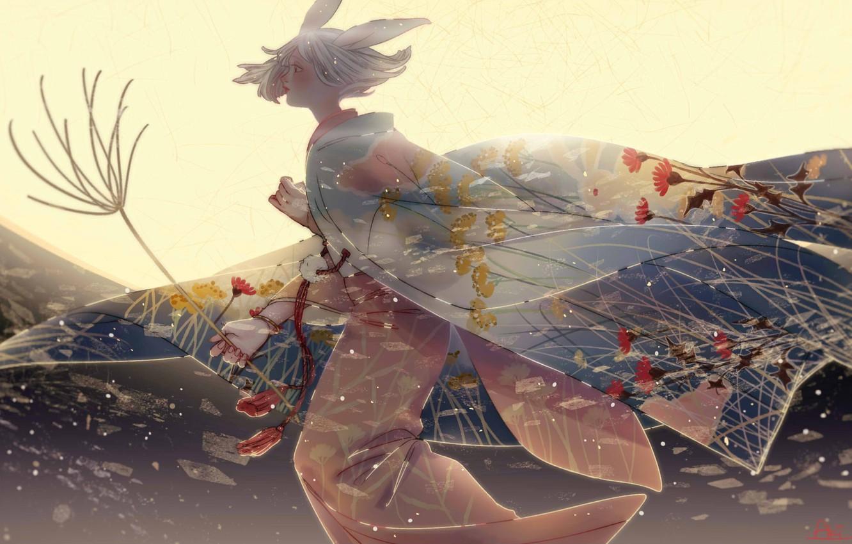 Фото обои девушка, цветы, ночь, луна, кимоно, бежит, кроличьи ушки