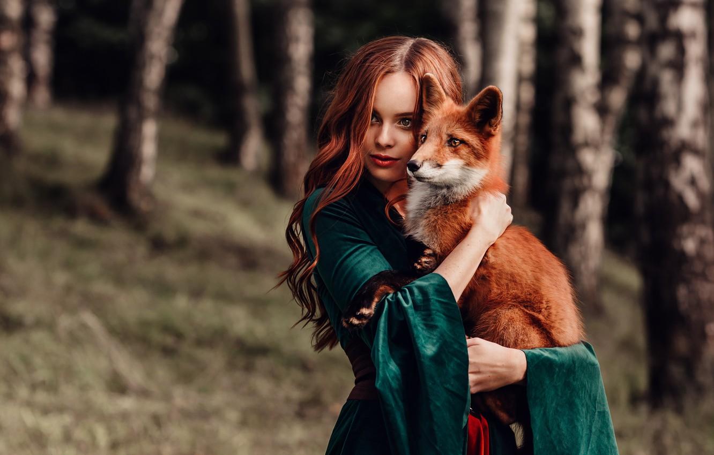 Фото обои девушка, настроение, лиса, рыжая, друзья, рыжеволосая, длинные волосы, Наталия Андреева, by Альбина Пономарёва