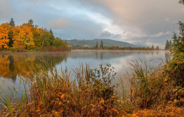 Фото обои осень, пейзаж, горы, природа, река, красота, простор, панорама