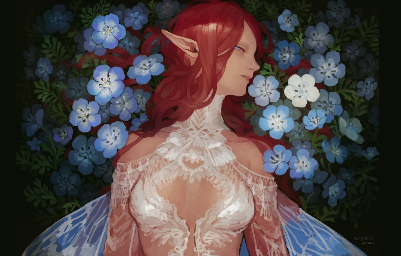 Фото обои рыжая, кружева, эльфийка, крылышки, белое платье, длинные волосы, незабудки, в профиль, голубые цветочки, остроухая, elf …