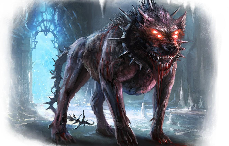 Фото обои кровь, ярость, клыки, страж, злоба, фэнтези арт, ошейник с шипами, гарм, скандинавская мифология, четырехглазый пес