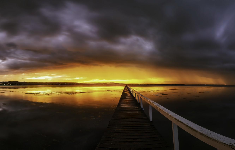 Фото обои twilight, panorama, Long Jetty