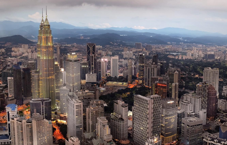 Фото обои пейзаж, горы, город, Малайзия, Куала-Лумпур