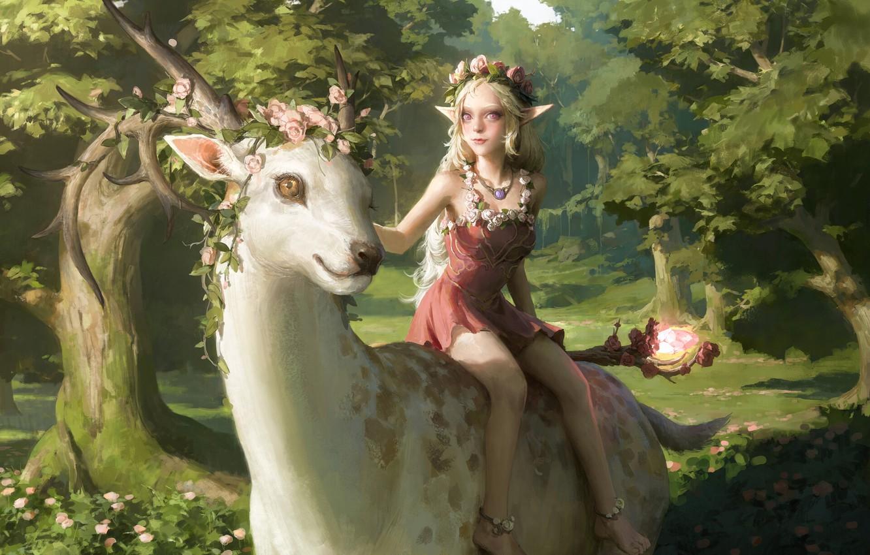 Фото обои олень, девочка, рога, сказочный лес, верхом, магический артефакт, elf girl, венок из роз, by Senfeng …