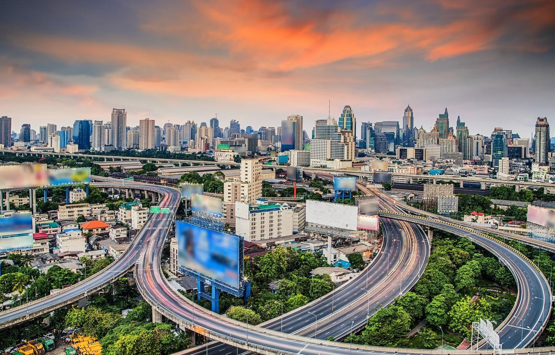 Обои реклама, здания, экраны, бангкок, дороги, тайланд. Города foto 6