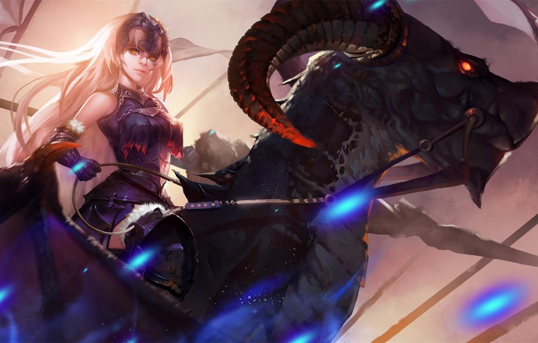 Фото обои girl, fantasy, horns, armor, anime, red eyes, rider, dragon, artist, digital art, artwork, warrior, drawing, …