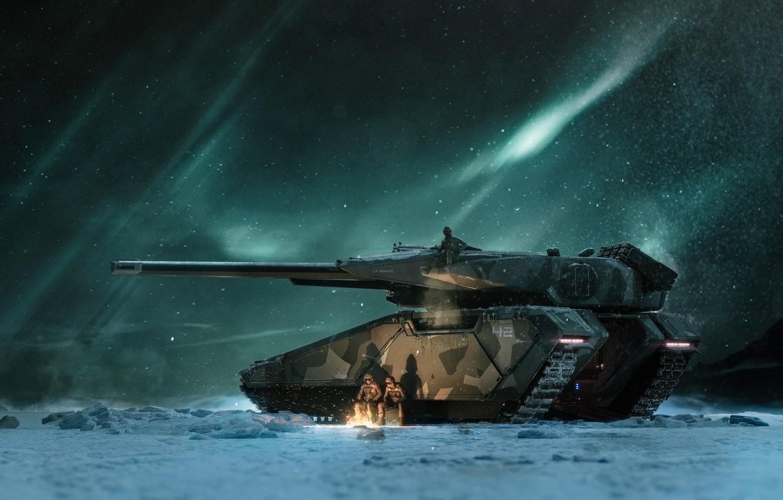 Фото обои Зима, Ночь, Звезды, Снег, Костер, Солдаты, Сияние, Арт, Танк, Art, Game, Tank, Транспорт, Star Citizen, ...