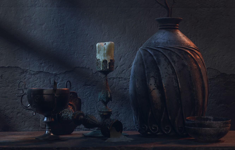 Фото обои арт, натюрморт, Pablo Munoz Gomez, Pottery Scene