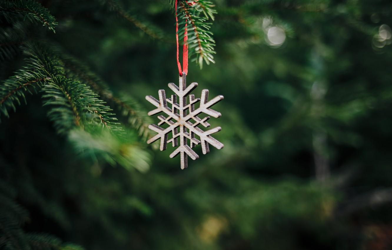 Фото обои украшения, елка, Рождество, Новый год, new year, Christmas, снежинка, decoration, snowflake