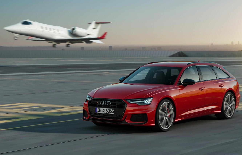 Фото обои красный, Audi, самолёт, универсал, 2019, A6 Avant, S6 Avant