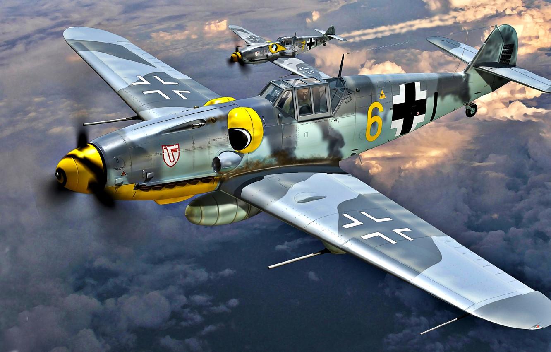 Обои Подвесной топливный бак, gustav, bf-109, мesserschmitt, б-17, Bf.109G-10, бомбардировщик. Авиация foto 10