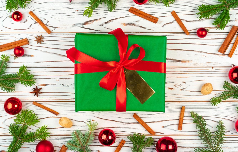 Фото обои шарики, подарок, игрушки, Новый год, корица