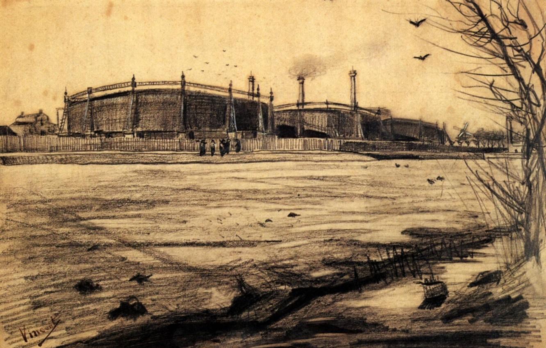 Фото обои птицы, рабочие, Vincent van Gogh, Gasworks