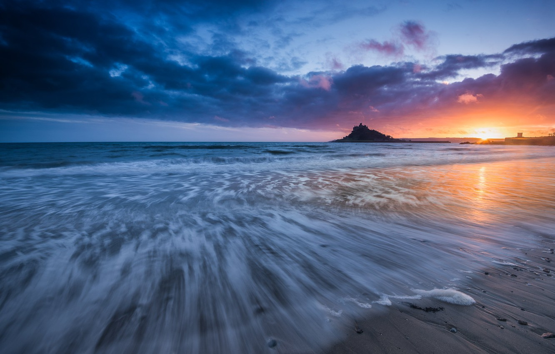 Фото обои море, закат, Англия, England, Корнуолл, Cornwall, Залив Маунтс, Mount's Bay