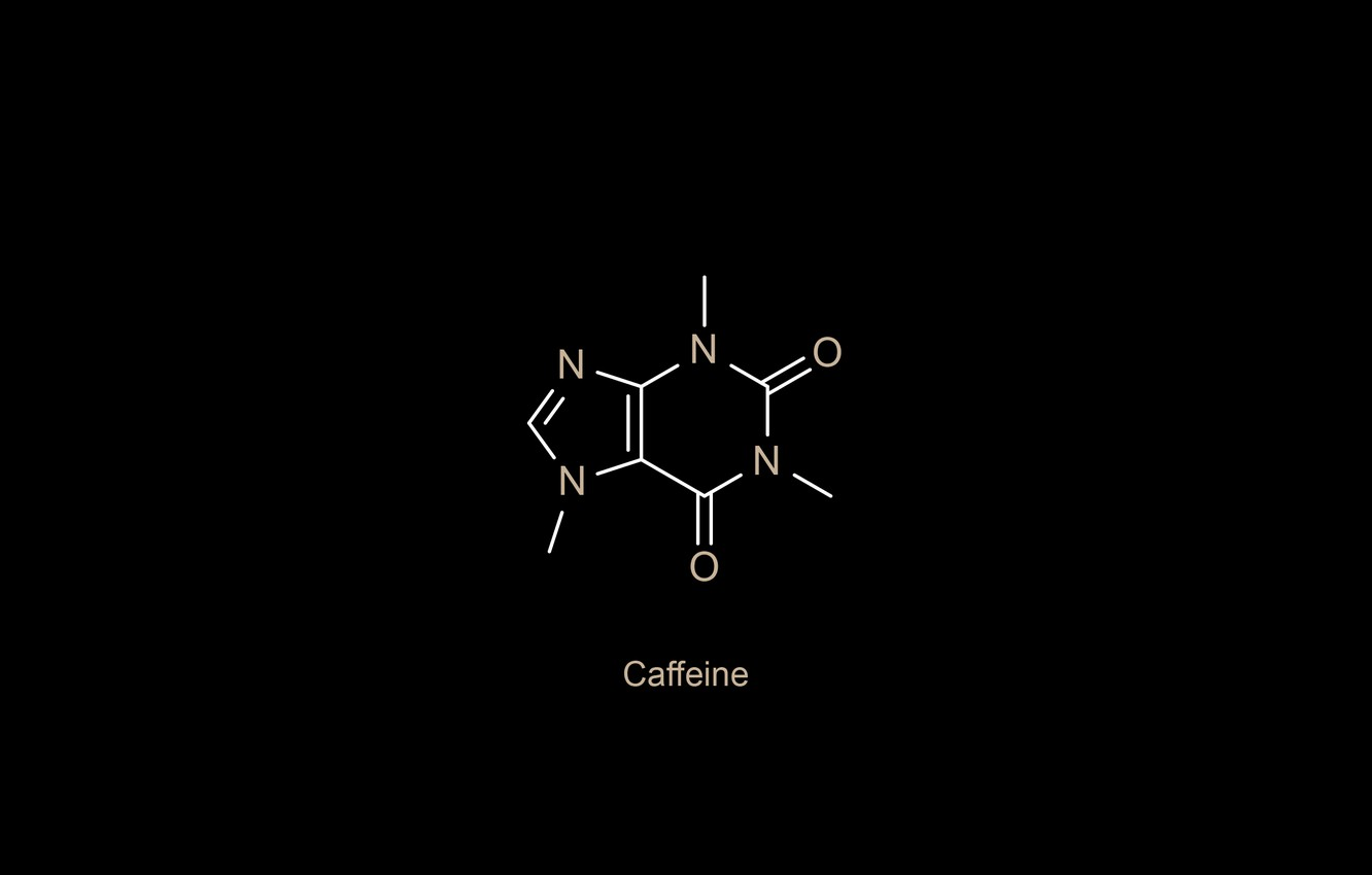 Фото обои minimalism, oxygen, chemistry, black background, science, simple background, nitrogen, Caffeine, chemical structures