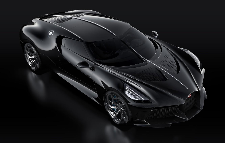 Фото обои машина, черный, фары, Bugatti, стильный, гиперкар, La Voiture Noire