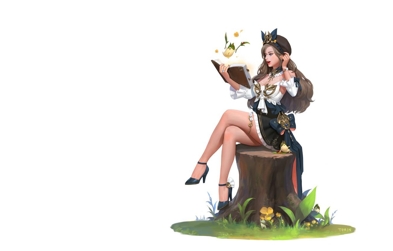 Фото обои девушка, аниме, арт, книга, пенёк, illust, terin kim